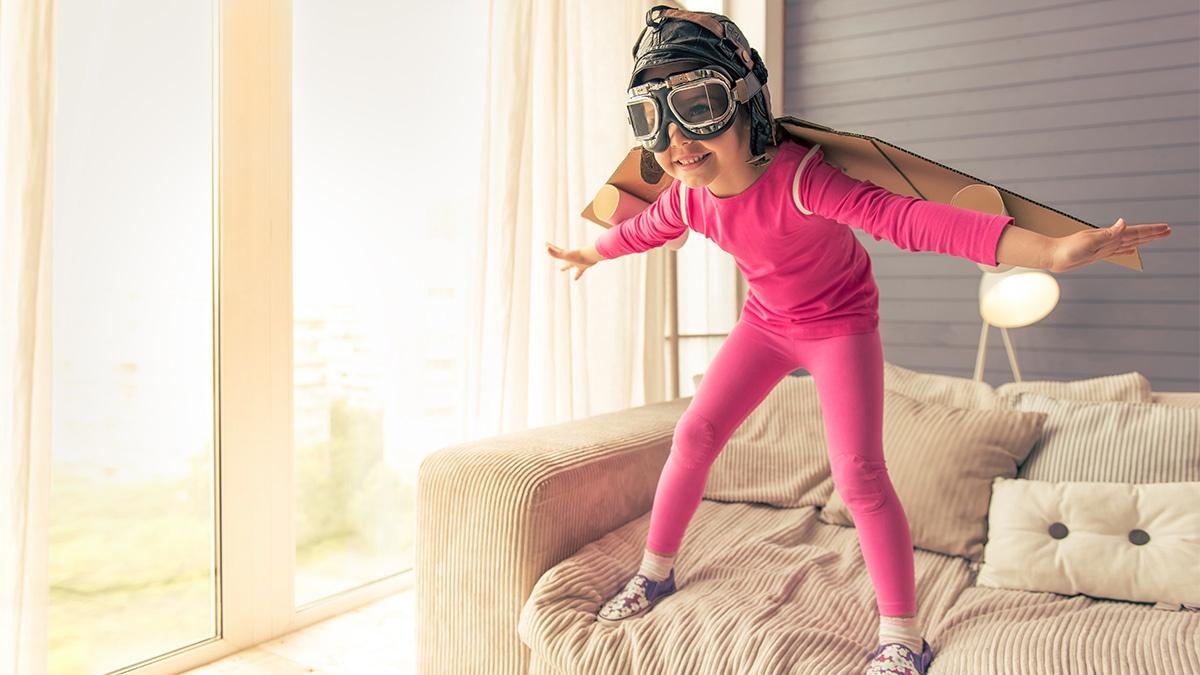 Sparkonto für Kinder - Mädchen als Pilotin